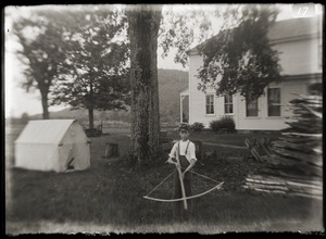 Boy with crossbow, Brooks-Fewell home (Greenwich, Mass.)