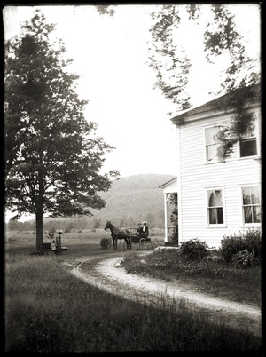 Brooks-Fewell home, Mount Pomeroy in background (Greenwich, Mass.)