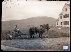 Plowing the fields at the Hillside School (Greenwich, Mass.)