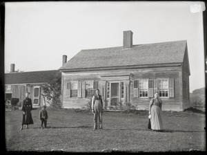 Unidentified family and house (Greenwich, Mass.)