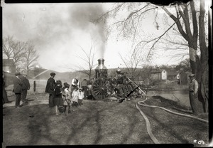 Demonstration of old steamer fire pump (Enfield, Mass.)