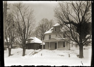 Winter scene of house in town (Greenwich, Mass.)