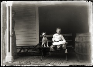 Portrait of child and dog (Greenwich, Mass.)