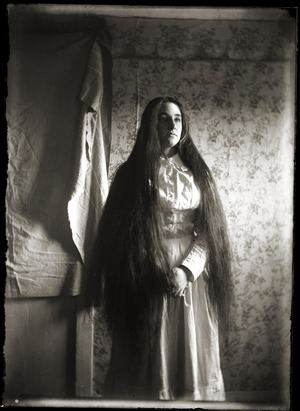 Portrait of woman with long hair (Greenwich, Mass.)