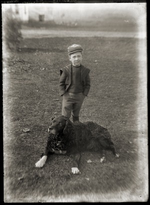 Portrait of a young boy with dog (Greenwich, Mass.)