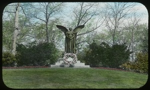 First page of Forest Hills Cemetery (statue of woman with wings)