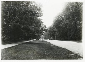 First page of Sidewalk, wide verge, and street in unidentified town