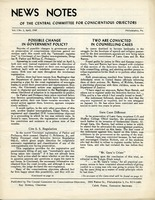 First page of News Notes of the Central Committee for Conscientious Objectors Vol. 1, no. 3