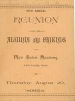 First page of Program for the eighteenth annual reunion for New Salem Academy