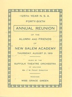 First page of Program for the forty-sixth annual reunion New Salem Academy