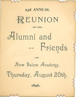 First page of Program for the twenty-third annual reunion of New Salem Academy