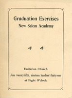 First page of Program for the 1931 graduation exercises at New Salem Academy