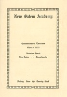 First page of Program for the 1922 commencement at New Salem Academy