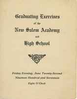 First page of Program for the 1917 graduation exercises for New Salem Academy and High School