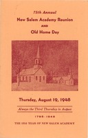 First page of Program for the seventy-fifth annual New Salem Academy reunion and old home day