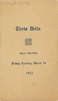 First page of Program for the 1923 Theta Delta open meeting