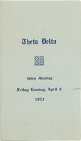 First page of Program for the 1921 Theta Delta open meeting