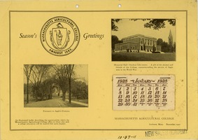 First page of 1928 Calendar from the Massachusetts agricultural college in Amherst, MA.