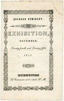 First page of Quaboag Seminary: Exhibition, November, twenty-fourth and twenty-fifth, 1845: Exercises to commence at             six o'clock, P.M.