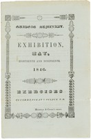 First page of Quaboag Seminary: Exhibition, May, eighteenth and ninteenth, 1846: Exercises to commence at             six o'clock, P.M.