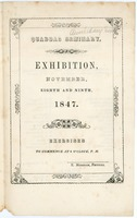First page of Quaboag Seminary: Exhibition, November, eighth and ninth, 1847: Exercises to commence at             six o'clock, P.M.