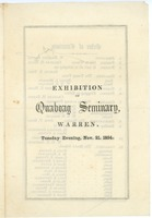 First page of Exhibition of Quaboag Seminary, Warren, Tuesday Evening, Nov. 21, 1854