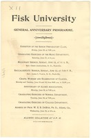 First page of Fisk University General Anniversary Programme