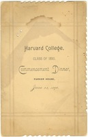 First page of Harvard College Class of 1890 commencement dinner program
