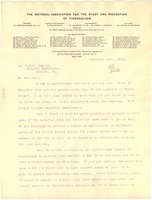 First page of Letter from The National Association for the Study and Prevention of Tuberculosis to W. E. B. Du Bois
