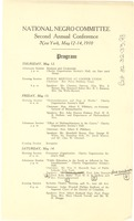 First page of Program of the National Negro Committee Conference