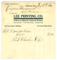 First page of Invoice from Lee Printing Company