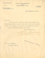 First page of Letter from the United States Commission to the Paris Exposition of 1900 to W. E. B. Du Bois