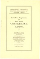 First page of National Association for the Advancement of Colored People tentative programme of the Fifth Annual Conference