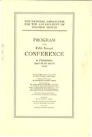 First page of National Association for the Advancement of Colored People Programme of the Fifth Annual Conference
