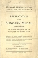 First page of Presentation of the Spingarn Medal