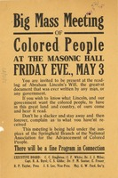 First page of Big Mass Meeting of Colored People