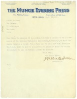 First page of Letter from Muncie Evening Press to W. E. B. Du Bois