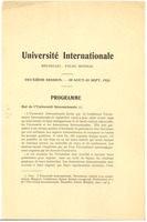 First page of Universit ´e Internationale Deuxi`eme Session 20 Aout-15 Sept. 1921 Programme