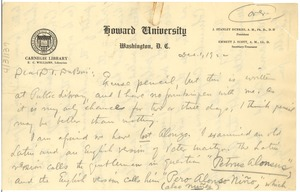 First page of Letter from E. C. Williams to W. E. B. Du Bois
