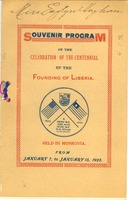 First page of Souvenir program of the celebration of the centennial of the founding of Liberia