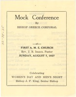 First page of Mock conference by Bishop Oreece Corporal