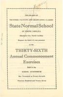 First page of State Normal School of North Carolina commencement program