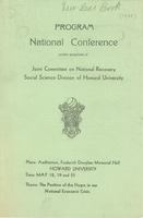 First page of Joint Committee on National Recovery national conference program
