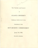 First page of Invitation to Atlanta University exercises of the sixty-seventh commencement