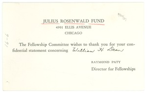 First page of Thank you note from Julius Rosenwald Fund