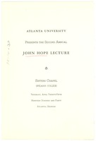First page of John Hope Lecture program