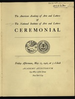 First page of National Institute of Arts and Letters Ceremonial and Exhibition program