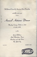 First page of Annual Autumn dinner invitation and program