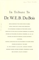 First page of Tribute to W. E. B. Du Bois invitation