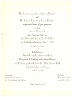 First page of American Academy of Arts and Letters invitation and program